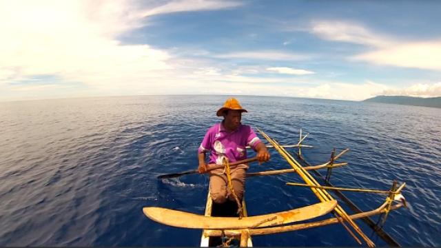 靠椰子壳与木板捕鲨的海洋巫师