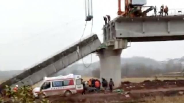 湖南在建铁路T梁失衡脱落,2人受伤