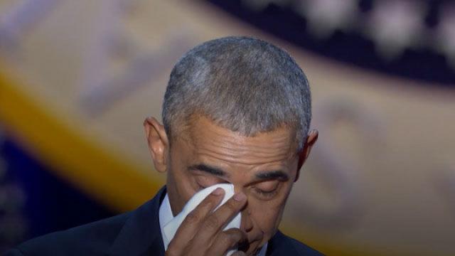 奥巴马芝加哥告别演说泪眼感谢家人