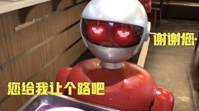 逼死服务员!送餐机器人超萌还撒娇