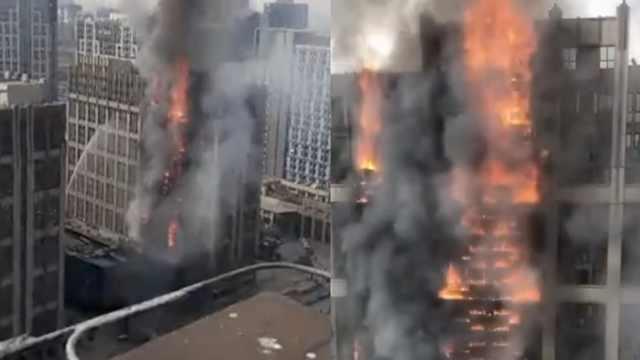 郑州一高层写字楼起火,烧成火柱