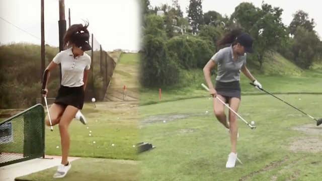美女玩转高尔夫,空中运球超级养眼