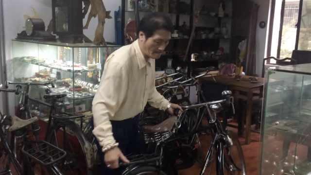 大爷痴迷自行车,收藏进口车50多辆