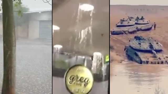 以色列遇暴雨,商场漏水坦克陷水坑