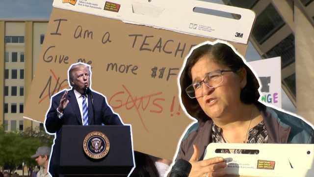 川普要给教师配枪,教师说:我们要钱