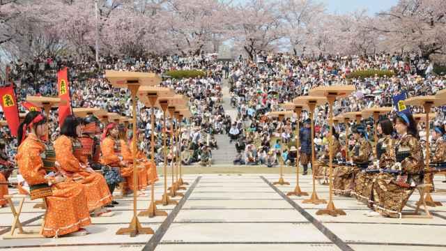 樱花美景下,日本举行人体将棋比赛