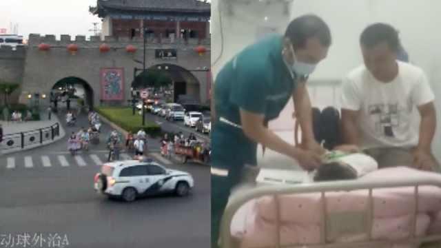 7岁娃坠桥伤膀胱,民警逆行急送医