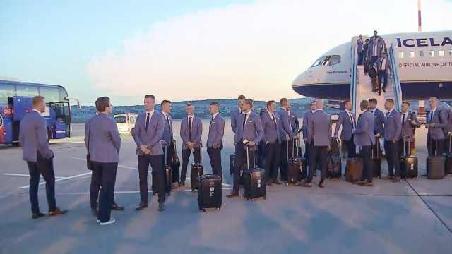 首战世界杯!黑马冰岛队抵达俄罗斯