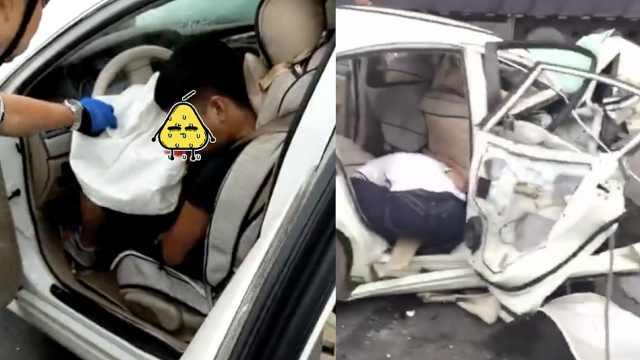轿车猛撞路坎失控弹飞,致1死4伤