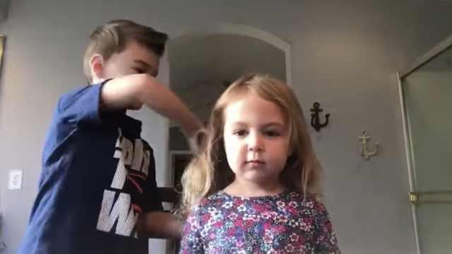 哥哥给妹妹设计发型,甜出新高度
