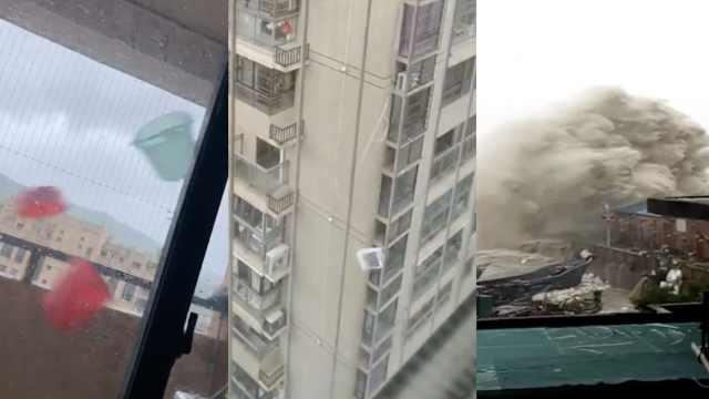 台风登陆:出租车开不稳,空调坠楼