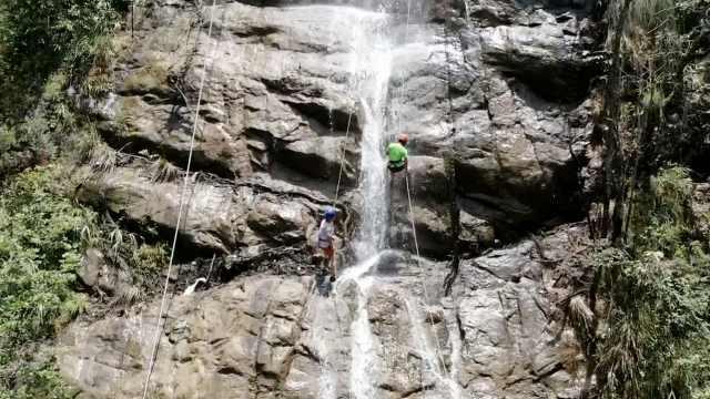 飞檐走壁!男子5分钟速降百米瀑布