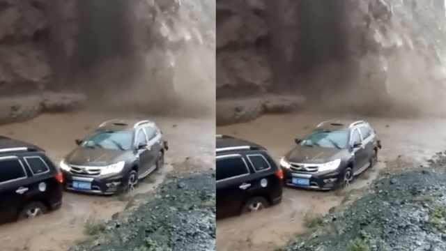 2车山路疾驰,泥石流瞬间倾泻而下