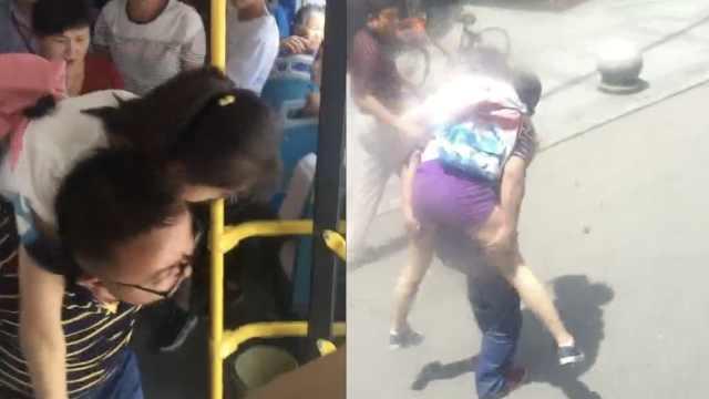 女孩公交车晕倒,乘客背起冲进医院