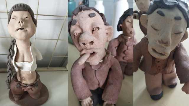 他做泥塑被夸难看,还带学生玩泥巴