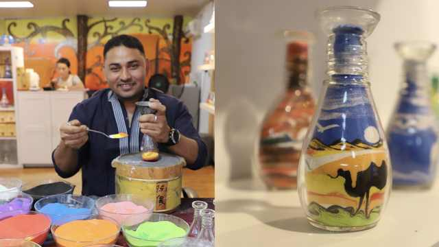 孟加拉小伙做沙瓶画:酸梅汤已上瘾