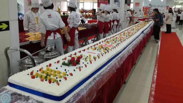 10米长蛋糕!大学办美食节回馈师生