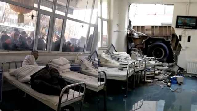 货车把医院撞出大洞,众人趴窗围观