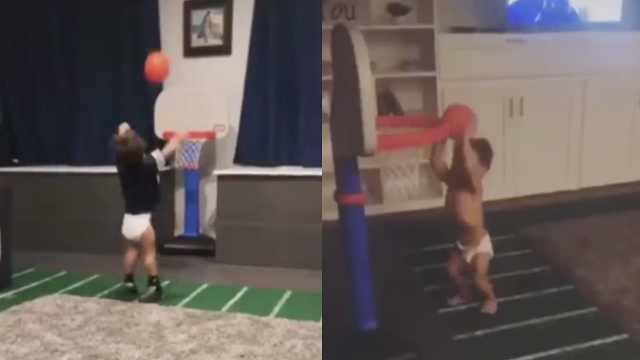 未来NBA巨星?2岁男孩投篮视频走红