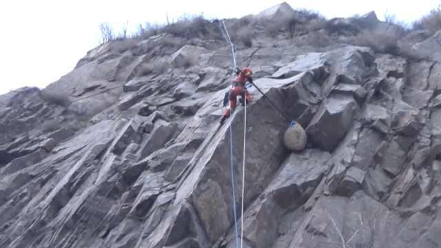 悬崖惊现巨型蜂窝,消防员冒险摘除