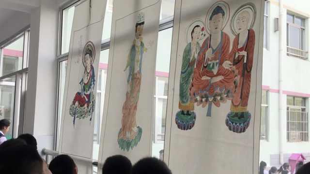 女孩临摹敦煌壁画,学校帮她办画展