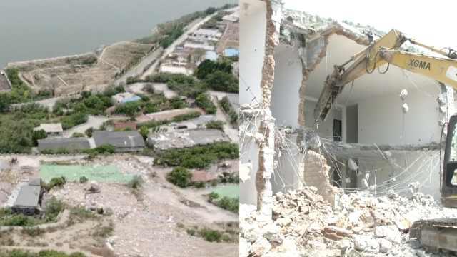 挨着卧虎山水库,34栋违建别墅被拆