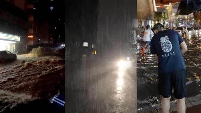 太原降暴雨水漫城区,下水井成喷泉