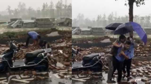 他避雨墙塌被埋,公交司机刨砖救人