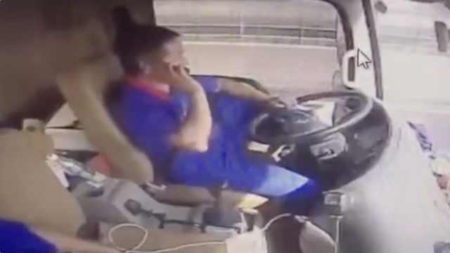 不要命!司机运汽油吸烟翘腿打电话
