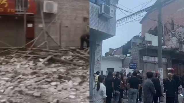 直击:四川内江5.4级地震,房屋垮塌