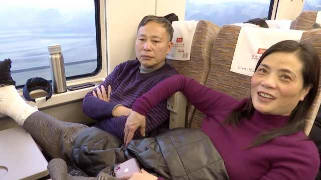 她脚受伤,乘高铁搭丈夫身上6小时