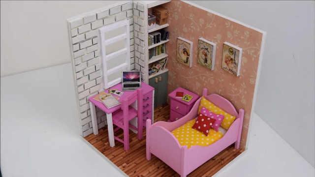 DIY迷你芭比娃娃的书房兼卧室