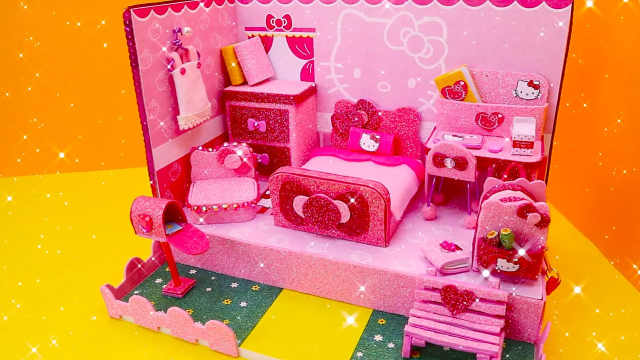 DIY迷你娃娃屋,甜蜜粉红的公主卧室