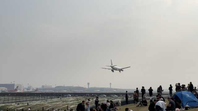 成都飞机起降最佳观赏点免费开放,市民搭帐篷看飞机