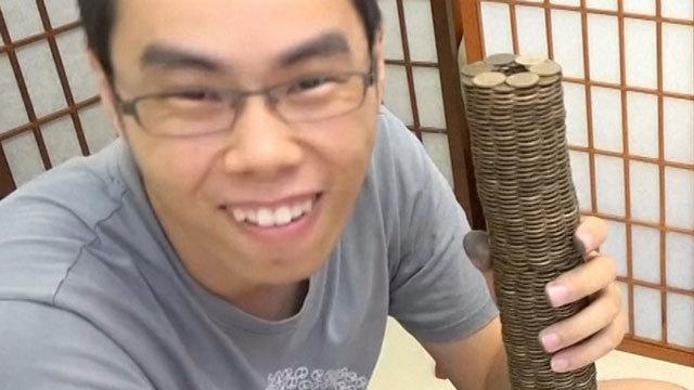 太闲!台湾油管红人千枚硬币堆高塔