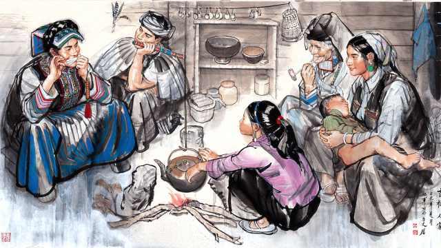 师父史国良画西藏,他画凉山彝族