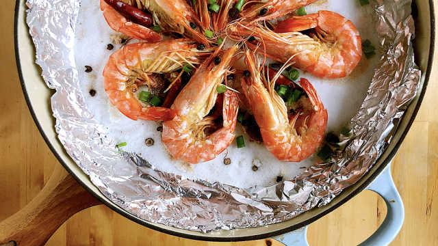 盐焗虎虾,十分钟的低脂宴客菜