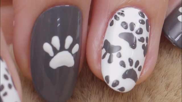 超级软萌的狗爪子!动物元素美甲