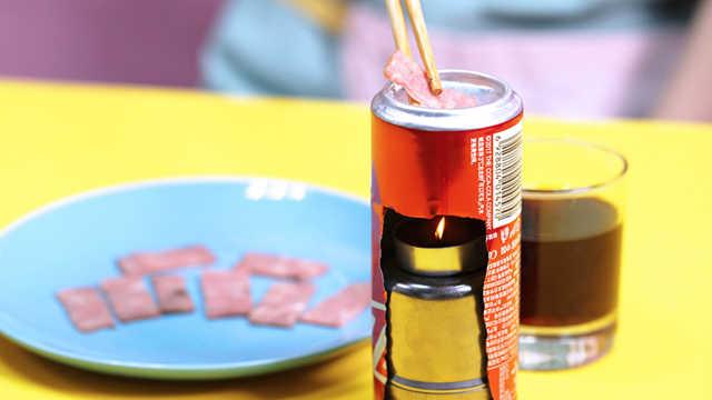 可乐罐做烧烤架,在家也能吃烤肉