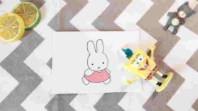 domi手绘萌萌的米菲小兔子