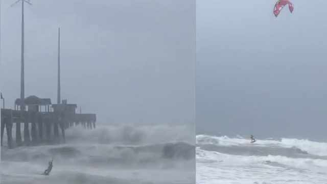 无语!他在佛罗伦萨飓风中惊险冲浪