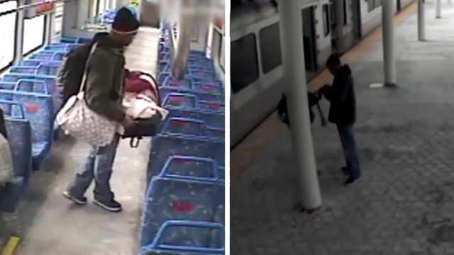 婴儿被粗心爸爸独自一人留在列车上
