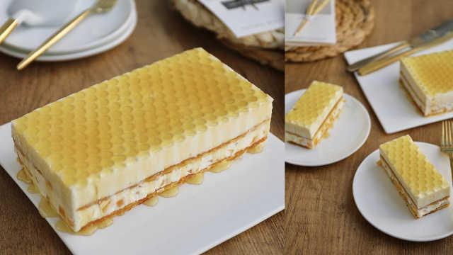蜂蜜黄桃慕斯蛋糕,美味甜品