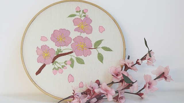 樱花刺绣手工教程,在家也能看樱花