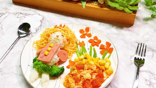 很卡通的创意儿童餐,用食材作画!