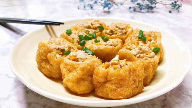 豆腐泡酿肉,小清新的家常菜!