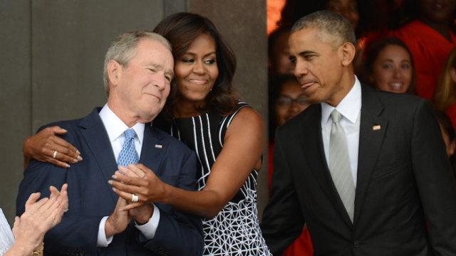 你没听错!小布什和米歇尔好着呢