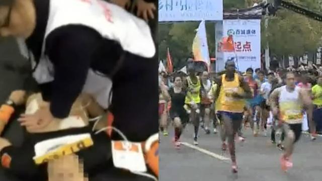 揪心!马拉松比赛,一男子突然晕倒