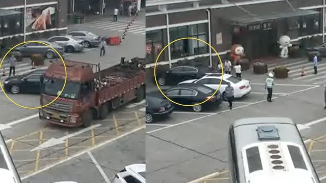 实拍:女司机挂倒挡下车,然后悲剧了