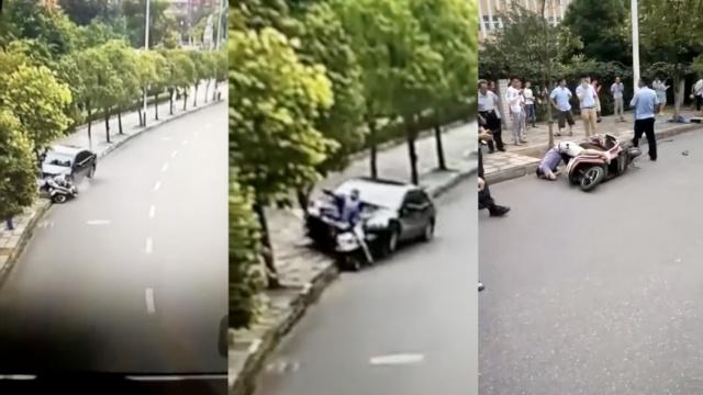 监拍:轿车撞电动车,撞飞司机撞断树